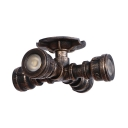 Iron Mini Semi Flush Mount Country Style Industrial 4 Lights Semi Flush Mount Light in Antique Bronze