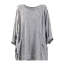 Women's Simple Plain Cozy Round Neck Long Sleeve Loose Fit T-Shirt with Pocket