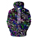 Cool 3D Geometric Floral Galaxy Printed Long Sleeve Pullover Blue Drawstring Hoodie