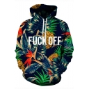 Simple Letter FUCK OFF 3D Tropical Leaf Printed Long Sleeve Blue Pullover Hoodie