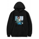 American Rapper Street Style Portrait Print Long Sleeve Pullover Unisex Loose Hoodie