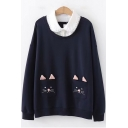 Girls Cute Cartoon Cat Pocket Patched Lapel Collar Long Sleeve Pullover Sweatshirt