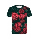 3D Red Rose Green Leaf Printed Round Neck Short Sleeve Casual T-Shirt