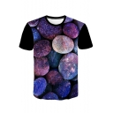 Unique 3D Purple Galaxy Stone Print Short Sleeve T-Shirt