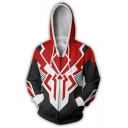 Fashion Black and Red Colorblocked Print Long Sleeve Full Zip Hoodie
