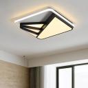 Post Modern Squared Ceiling Lamp Metal LED Flush Light in Black for Restaurant Living Room