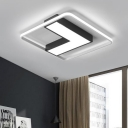 Black V Shape Flush Mount with Square Silicon Gel Frame Contemporary LED Ceiling Lamp