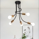 Open Bulb Suspension Lamp with Curved Arm Vintage Industrial Iron 5 Bulbs Hanging Light in Gold