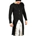 Men's New Trendy Long Sleeve Simple Plain Split Side Hip Hop Long T-Shirt