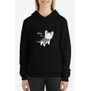 Cute Cartoon Cat Letter EXOTIC CAT Print Sport Casual Long Sleeve Hoodie