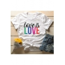 Simple Letter LOVE IS LOVE Printed Basic Short Sleeve Round Neck White T-Shirt