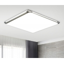 Ultra Thin LED Flush Light with Silver Square Frame Modern Chic Acrylic Ceiling Flush Mount