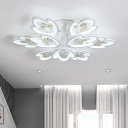 Multi Lights 2 Tiers Ceiling Lamp with Cognac Beads Contemporary Acrylic LED Semi Flush Mount