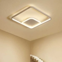 White Square LED Flushmount Contemporary Metal Ceiling Fixture for Entrance Aisle