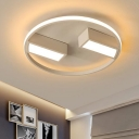 White Single Ring Ceiling Light Contemporary Aluminum Surface Mount LED Light for Dining Room
