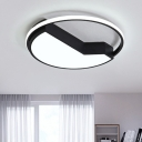 Geometric Acrylic Shade Ceiling Lamp with Halo Ring Contemporary LED Flush Light in Black