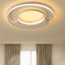 Double Ring Ceiling Flush Mount with Metal Canopy Modern Fashion LED Flush Light in White