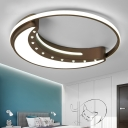 Brown Crescent Flushmount Modernism with Ring Metallic LED Ceiling Light for Coffee Shop