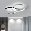 Double C Shape Ceiling Lamp Modern Fashion Metal LED Flush Light in Black and White