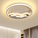 Modernism Circle Flush Light Fixture with Wave Design Metallic Ceiling Fixture in Warm/White