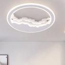 Contemporary Circle LED Lighting Fixture with Cloud Design Metallic Ceiling Light in Warm/White