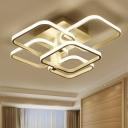 3/5 Square Ring Ceiling Light Nordic Style Metallic Art Deco LED Semi Flush Light in Warm/White