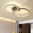 Modern Ultrathin Ceiling Lamp with Double Ring Acrylic Eye Protection LED Lighting Fixture in Brown