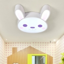 Cute White Bunny Flush Light Fixture Metal Decorative LED Ceiling Lamp for Children Bedroom