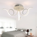 Twist Flushmount Contemporary Metal 3/6/8 Lights Art Deco LED Flush Ceiling Light in White