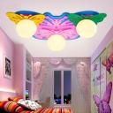 Butterfly 3 Lights Flush Light White Glass Shade Ceiling Lamp for Girls Bedroom