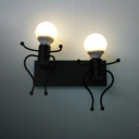 2 Lights Open Bulb Wall Mount Fixture Hallway Corridor Metallic Wall Lamp in Black/White