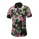 Summer Trendy 3D Oil Painting Floral Print Short Sleeve Black Polo Shirt for Men