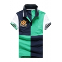 Men New Trendy Colorblock Patched Short Sleeve Classic-Fit Logo Polo
