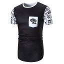 Retro Tribal Totem Eye Printed Short Sleeve Round Hem Slim Fit Hipster T-Shirt