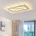 Modern Chic Rectangular Flushmount Acrylic Surface Mount LED Light in White for Office Sitting Room