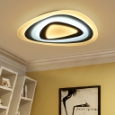 Modernism Ultra Thin Lighting Fixture with Triangle Decorative Metallic LED Flush Light in White