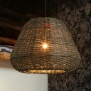 Lodge Style Bucket Hanging Lamp Rattan 1 Light Ceiling Pendant Light in Brown for Coffee Shop