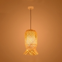 1 Light Rattan Pendant Light Modern Design Knit Hanging Lamp in Wood for Coffee Shop Restaurant