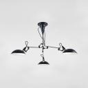 Arm Adjustable Hanging Light Modern Chic Metal 3 Lights Chandelier Lamp in Black for Study Room