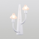 2 Lights Mushroom LED Wall Sconce Stylish Modern Frosted Glass Lighting Fixture in White for Children