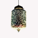 1 Bulb Jar Pendant Lighting Modern Design 3D Colored Glass Hanging Light in Black for Bar Counter