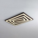 Metal Ultra Thin LED Flush Light with Rectangle Contemporary Flush Mount in Black for Restaurant