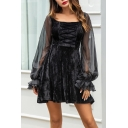 Retro Square Neck Sheer Lantern Sleeve Black Velvet Mini A-Line Dress for Women