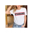 Simple Letter STANDARD Print Round Neck Short Sleeve White T-Shirt