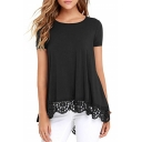 Women's Round Neck Short Sleeve Lace Trim Plain Swing Tunic T-Shirt