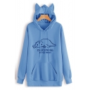 Cute Lazy Cat Letter OVERTHINKING AND ALSO HUNGRY Long Sleeve Ear Hoodie