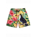 Summer Trendy Floral Bird Print Drawstring Waist Beach Casual Yellow Board Shorts for Men
