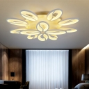 Round Canopy Semi Flush Light with Oval Acrylic Shade Modern Chic Indoor Lighting Fixture in White