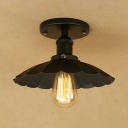 Black Scalloped Semi Flush Mount Retro Industrial Style Iron 1 Light Ceiling Lamp for Restaurant Porch