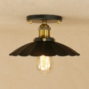 Aged Brass Scallop Lighting Fixture with Black Metal Shade Traditional Industrial 1 Head Ceiling Light